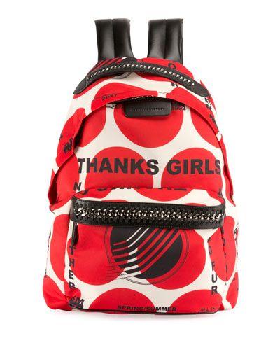 V3EBN Stella McCartney Thanks Girls Chain-Trim Mini Backpack, Red