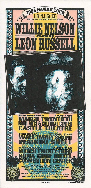 Willie Nelson Leon Russell Handbill 1996 Mar 20 Hawaii Tour Mark Arminski by MoviePostersAndMore on Etsy