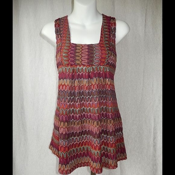 H&M Mixed Burgandy Smock Top Sz S H&M Mixed Burgandy Smock Top Sz S Sleeveless, square neckline. 95% Polyester, 5% Metallic. Length 26. Bust 32. H&M Tops