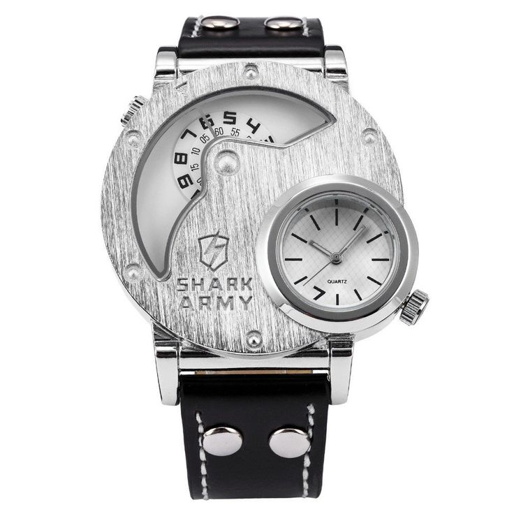 SHARK ARMY Stainless Steel Big Face Watch Men Dual Time Leather Strap
