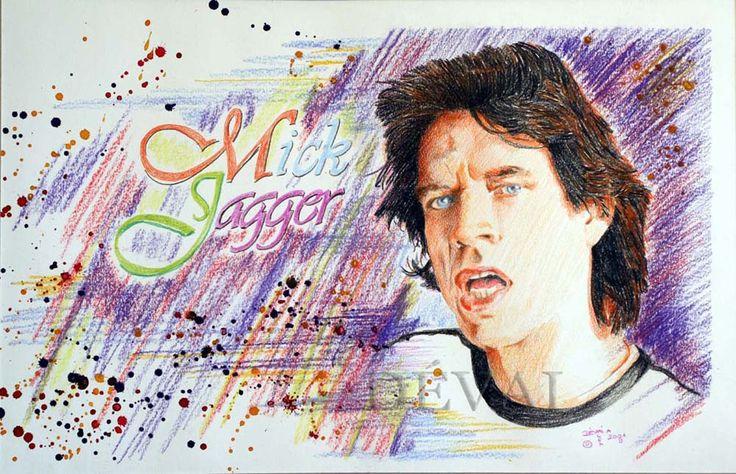 Grafik: Alex Devai Color Pencil, aquarell Mick Jagger