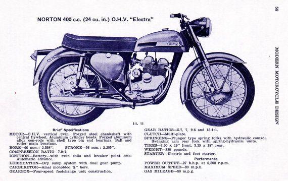 MOTO 400cc Norton Electra print, illustration antique de moto vintage