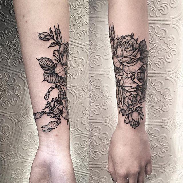Roses with Scorpion ✣ #tattoo #blacktattoo #black #blackworker #btattooing #botanical #illustration #nyc #greenpoint #brooklyn