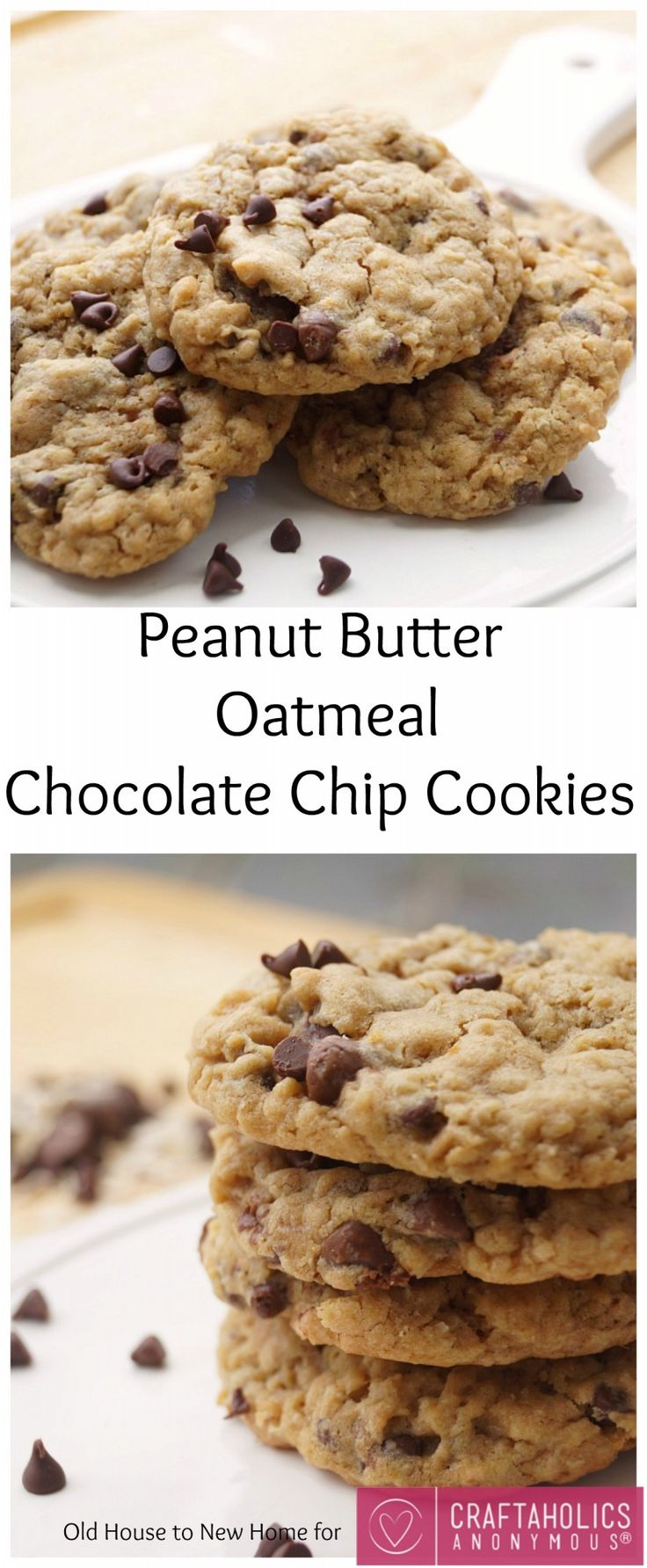 Soft and Chewy Peanut Butter Oatmeal Chocolate Chip Cookies :: These are AMAZING!!