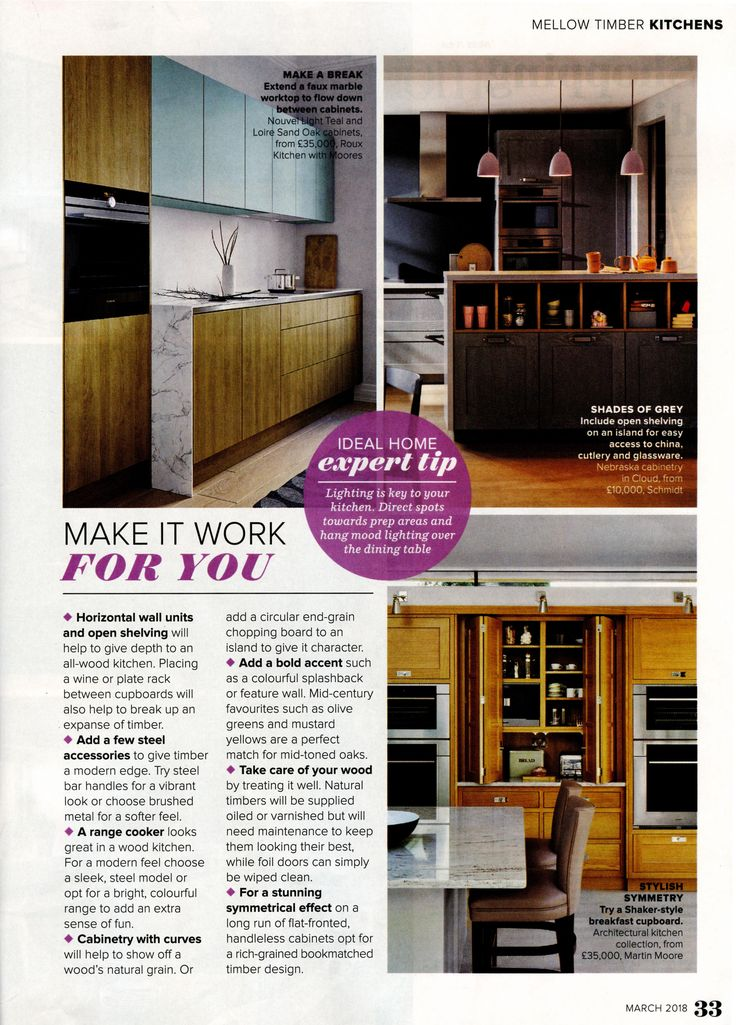 Try a Shaker-style breakfast cupboard like this on from the Architectural kitchen collection from Martin Moore. www.martinmoore.com Ideal Home - Kitchen Supplement - March 2018