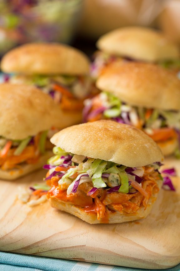 Buffalo Chicken Sliders with Blue Cheese Coleslaw - Cooking Classy