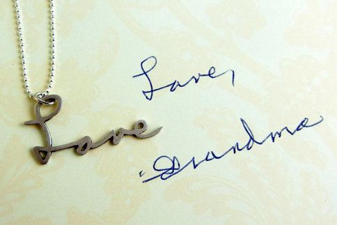 Love! jewelry of actual handwritten notes