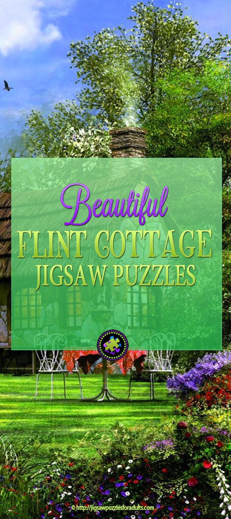 The Flint Cottage Jigsaw Puzzle is a beautiful jigsaw puzzle that challenges you while immersing you in the peace and tranquility.