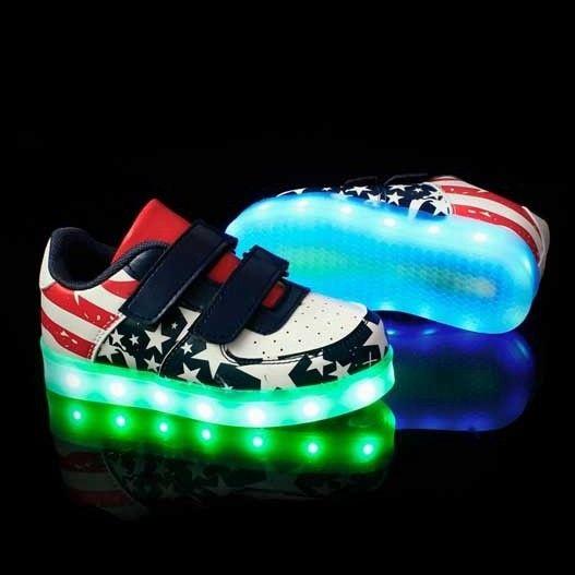Garcon Chaussure Qui S'allume Drapeau USA