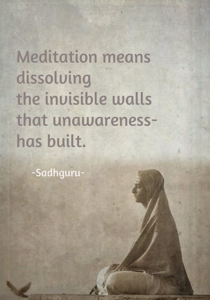 Meditation means dissolving the invisible walls that unawareness has built. (Sadhguru) source of image, vedic odyssey