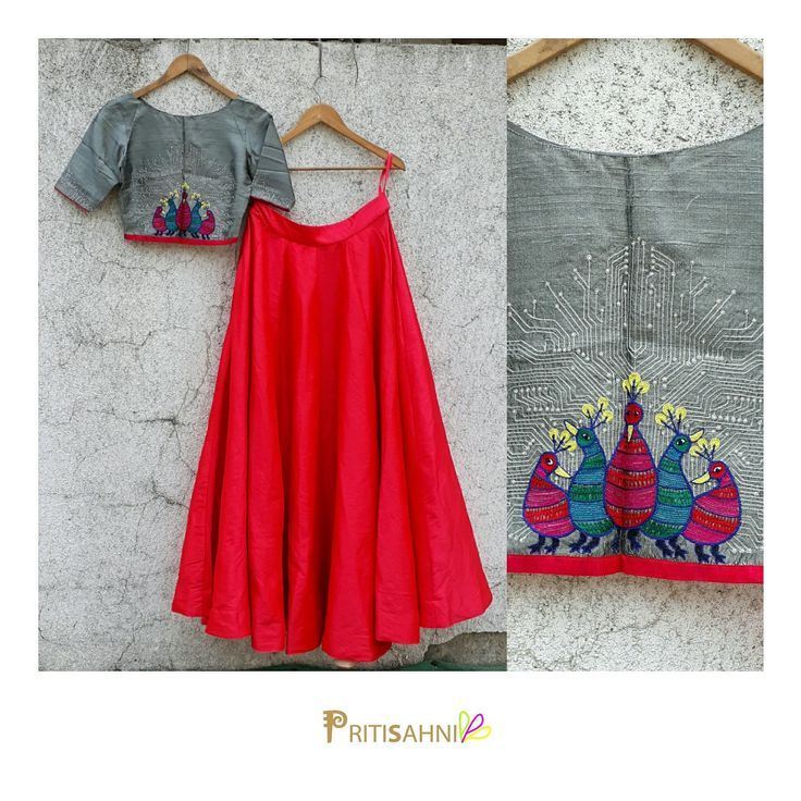 TribalogyMake heads turn around you in this grey crop top with Gond Tribal embroidery paired with coral skirtFor more information  write to info@pritisahni.com   06 May 2017