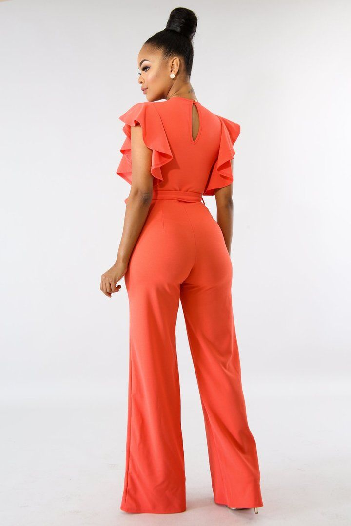 f533d1b34f Casual Solid Color Short Sleeve Bell Sleeve Jumpsuits in 2019 ...