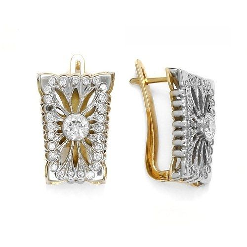#Gold earrings with #diamonds.     White and yellow gold with diamonds.  See more of our #jewellery !