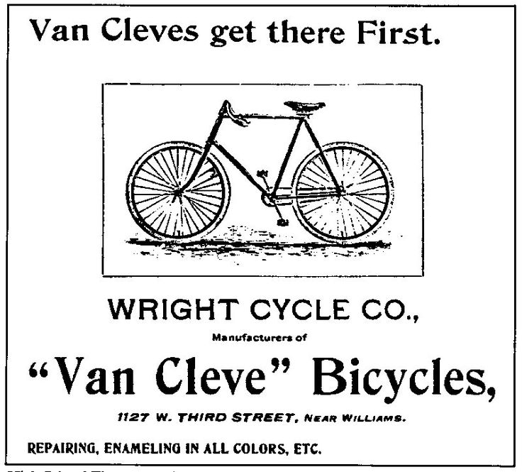 1897 Van Cleve Ad Wright Brothers Bicycles Dayton Ohio Ohio