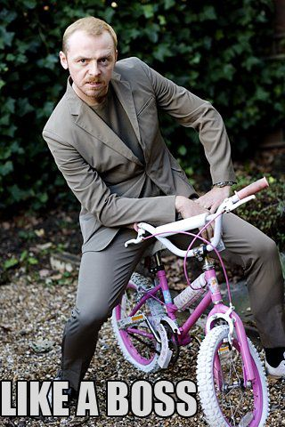 Love Simon Pegg: Like A Boss, Laughing, Little Girls, Pink Bike, Funny Celebrity, Girls Bike, Actor, Simon Pegge, Likeaboss