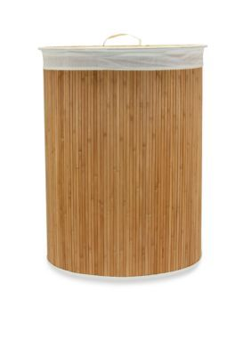 Household Essentials Bamboo Oval Bamboo Hamper - Online Only
