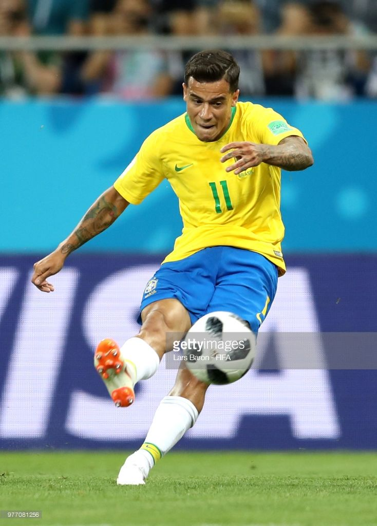 Philippe Coutinho of Brazil scores his team s first goal during the 2018  FIFA World Cup Russia group E match between Brazil and Switzerland at  Rostov Arena ... fae14f4169f05