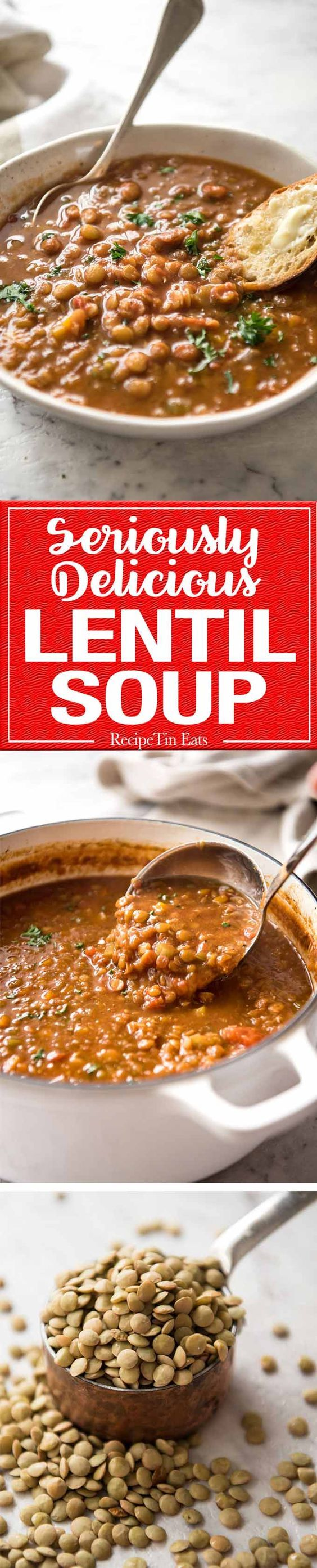 Don't settle for a bland Lentil Soup. Make it right and you'll have everyone begging for more! All it takes is a hint of spice flavourings, bay leaves and finishing it off with a touch of lemon. It makes all the difference!
