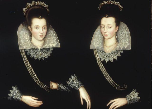 Robert Peake the elder (c 1551-1619)  Portrait of sisters, probably Anne of Denmark & her sister Elizabeth