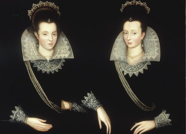 Robert Peake the elder (c 1551-1619)  Portrait of sisters, probably Anne of Denmark & her sister Elizabeth