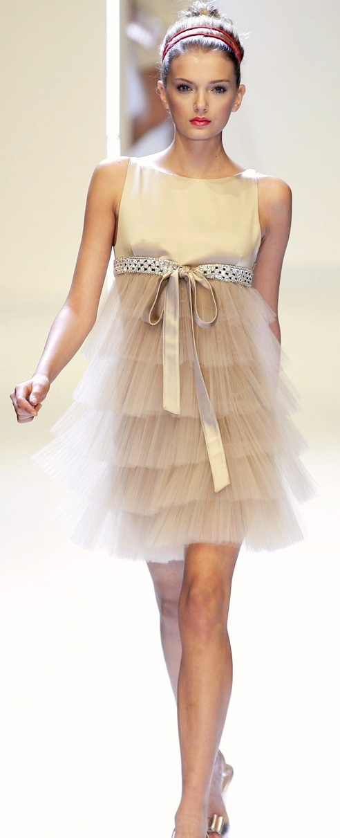Valentino gold empire waist short dress.  Tulle layered skirt.  Bling and silk belt.  Adorable!