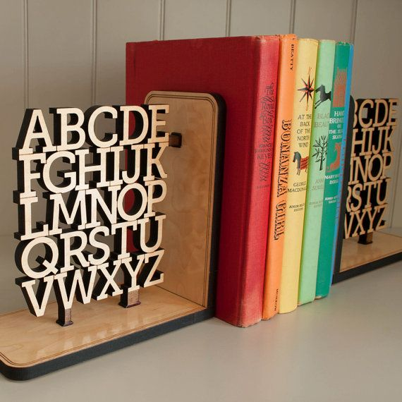 Wooden Alphabet Bookend Kids Children ABC by graphicspaceswood