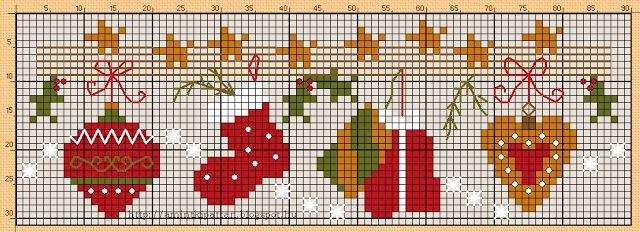 cross stitching christmas garland kreuzstich weihnachten. Black Bedroom Furniture Sets. Home Design Ideas