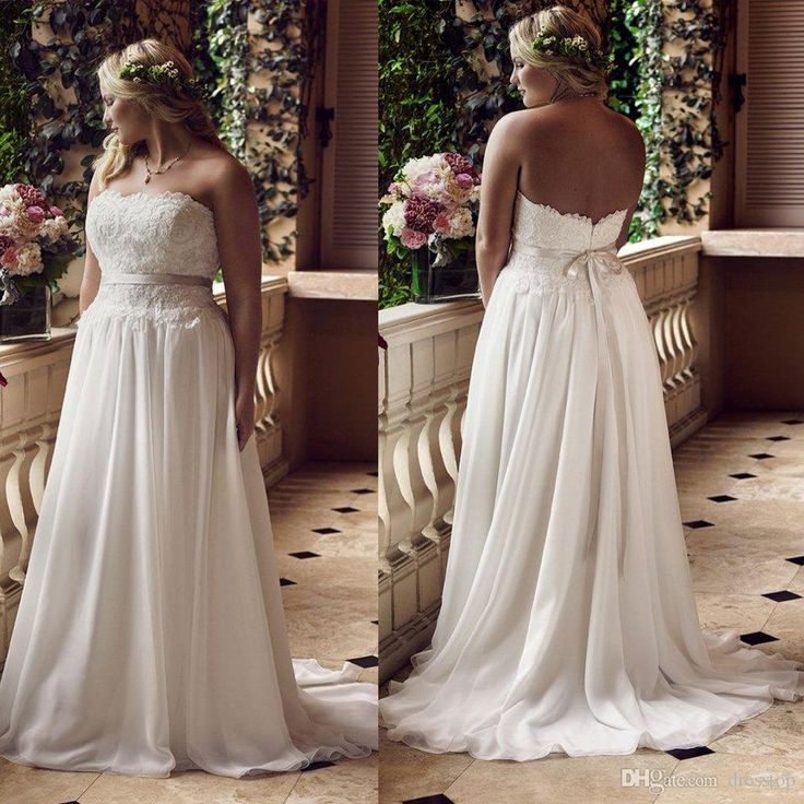 New Arrival Plus Size Wedding Dresses Strapless Neck Sweep Train Lace Appliqued Bridal Gowns A Line Chiffon Long Wedding Dress With Sash Aline Wedding Dresses Anthropologie Wedding Dresses From Dresstop, $132.83| Dhgate.Com