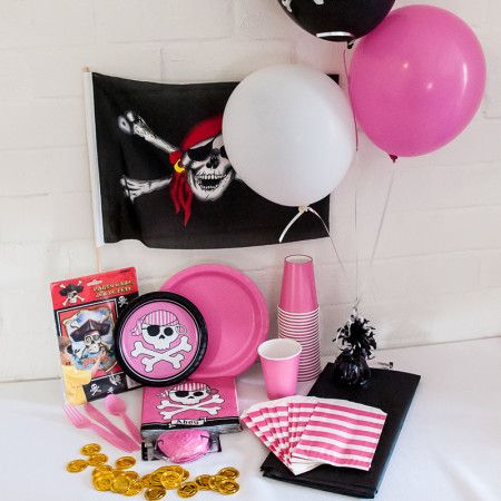 Pirate Girl Party Package. Great value delivered to your door! http://www.qualitytimepartysupplies.com.au/shop/party-packages/pirate-girl-party-package/