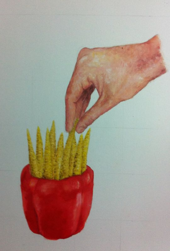 Raw french fries! Oil painting on paper.