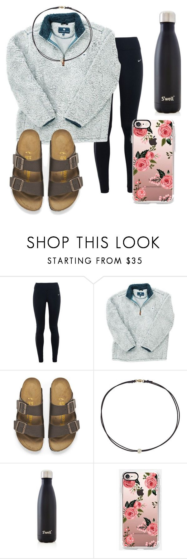 """Cozy"" by kayleenowlin ❤ liked on Polyvore featuring NIKE, Birkenstock, Dogeared and S'well"