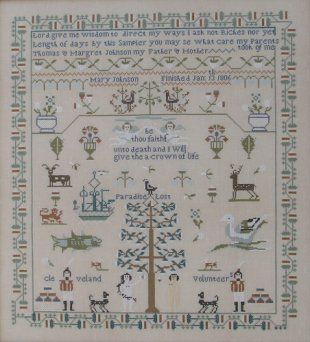 """Mary Johnson 1806"" is the title of this cross stitch pattern from Queenstown Sampler Designs. This is a true reproduction English sampler f..."