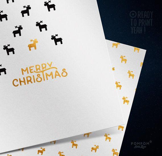 Carte de voeux À IMPRIMER Carte de noël Merry Christmas carte de voeux imprimable Enveloppe DIY étiquettes cadeaux noir Rennes or Carte de voeux carrée deux volets + enveloppe + étiquettes cadeaux à monter inclus TÉLÉCHARGEMENT NUMÉRIQUE INSTANTANÉ 1 FICHIER ZIP contenant PDF et jpg 300 DPI  À noter : - Les couleurs peuvent varier selon l'écran, le papier utilisé ou l'imprimante - Il sagit dun achat numérique, aucun envoi postal  MODE DEMPLOI  - Choisissez votre fichier, et après lachat…