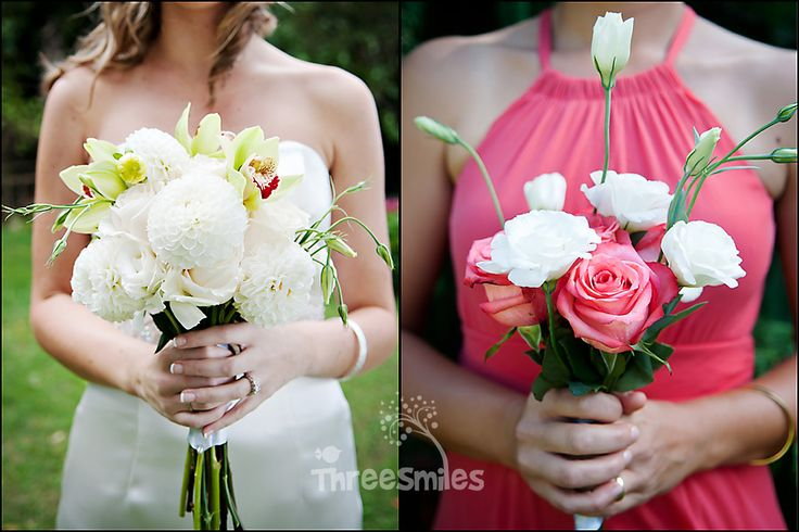 www.threesmilesphoto.ca  Wedding Flowers Coral