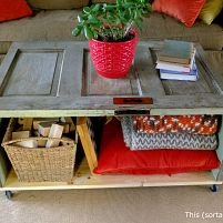 We saw some pretty pricey coffee tables made from doors