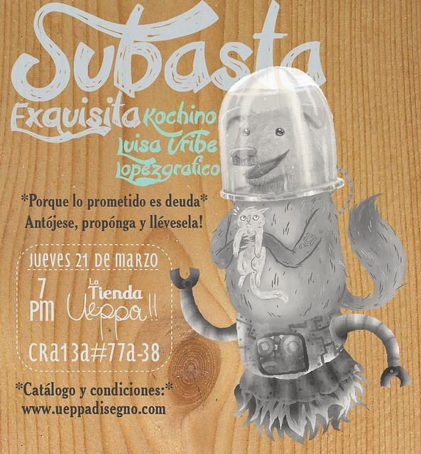 #SubastaExquisita Illustration: Kochino + Luisa Uribe + Lopezgráfico Design:  Evitagira