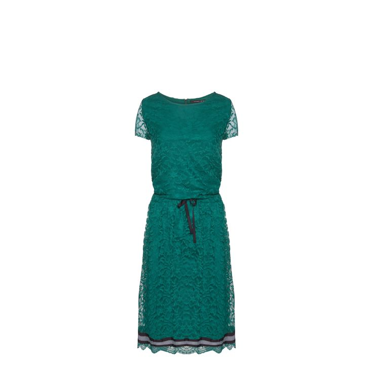 Naughty Dog #FW1415 green lace #dress with coulisse and contrasting band on the bottom.