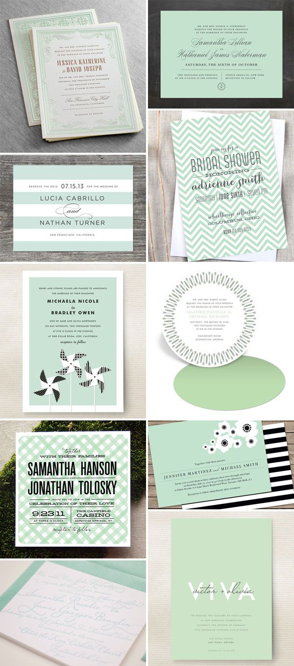Our Hamilton suite (top left) was featured by Invitation Crush in Mint Green Wedding Invitations post!