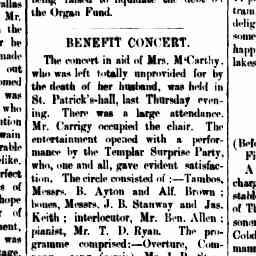 J.B. Stanway performed the bones and a comedic song with Templar Surprise Party for benefit concert. North Melbourne Advertiser, 2 Nov 1883, p. 3, 'Benefit concert'.