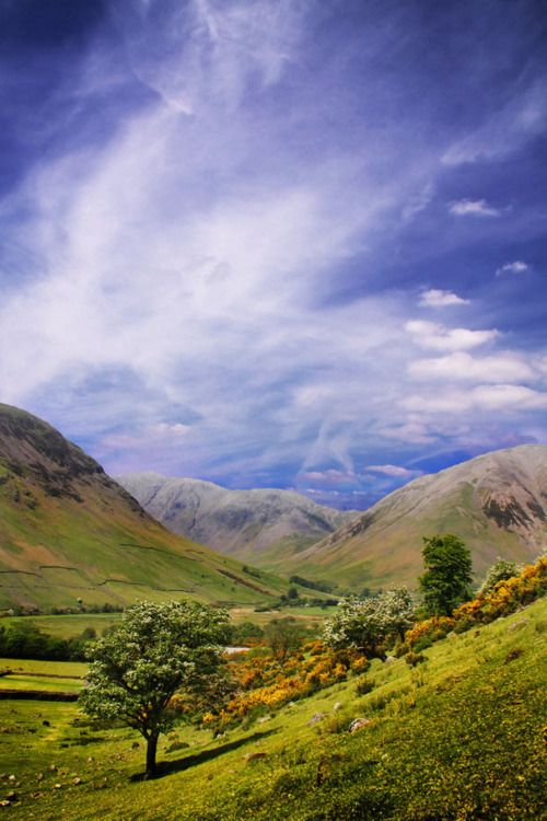 Scafell Pike is the highest mountain in England at 978 metres (3,209 ft). Lake District National Park, Cumbria, England