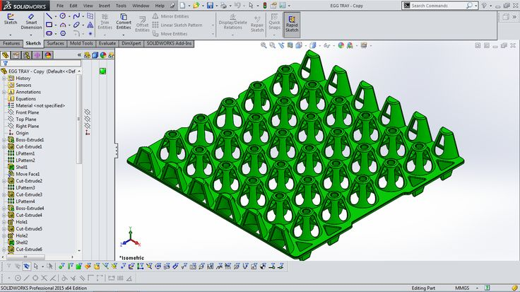 Egg Tray designed in SolidWorks 2015