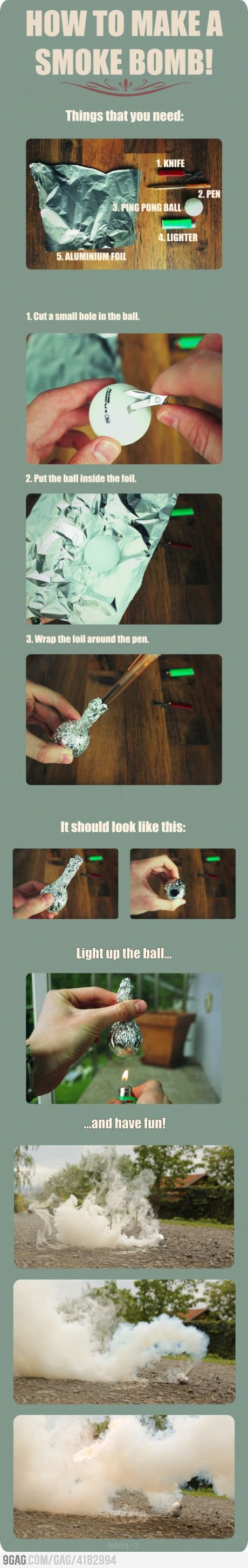 How to make a smoke bomb.