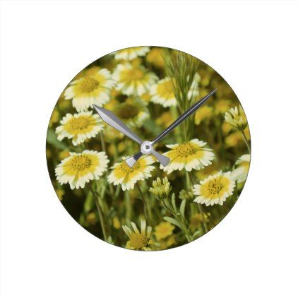Yellow Wildflowers Round Clock - floral style flower flowers stylish diy personalize
