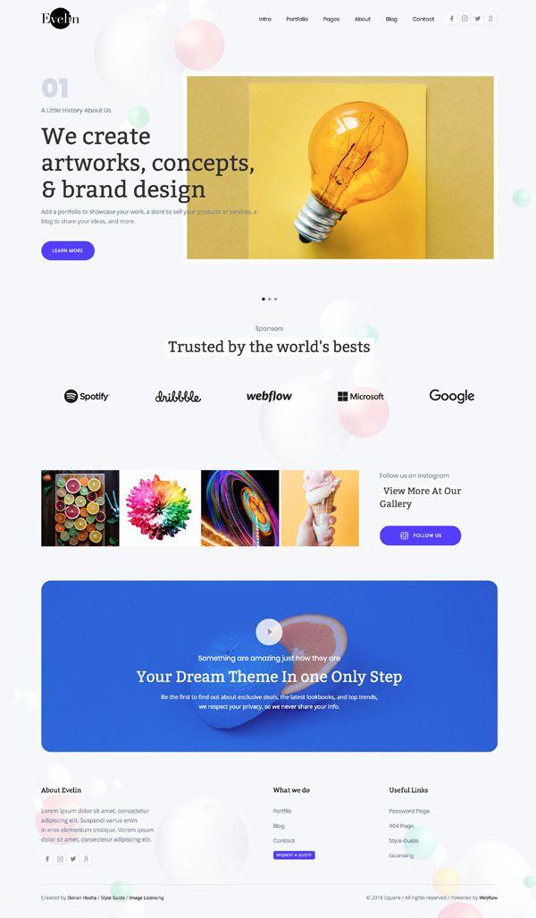 Evelin – Portfolio Website Template - #gorgeous #creative