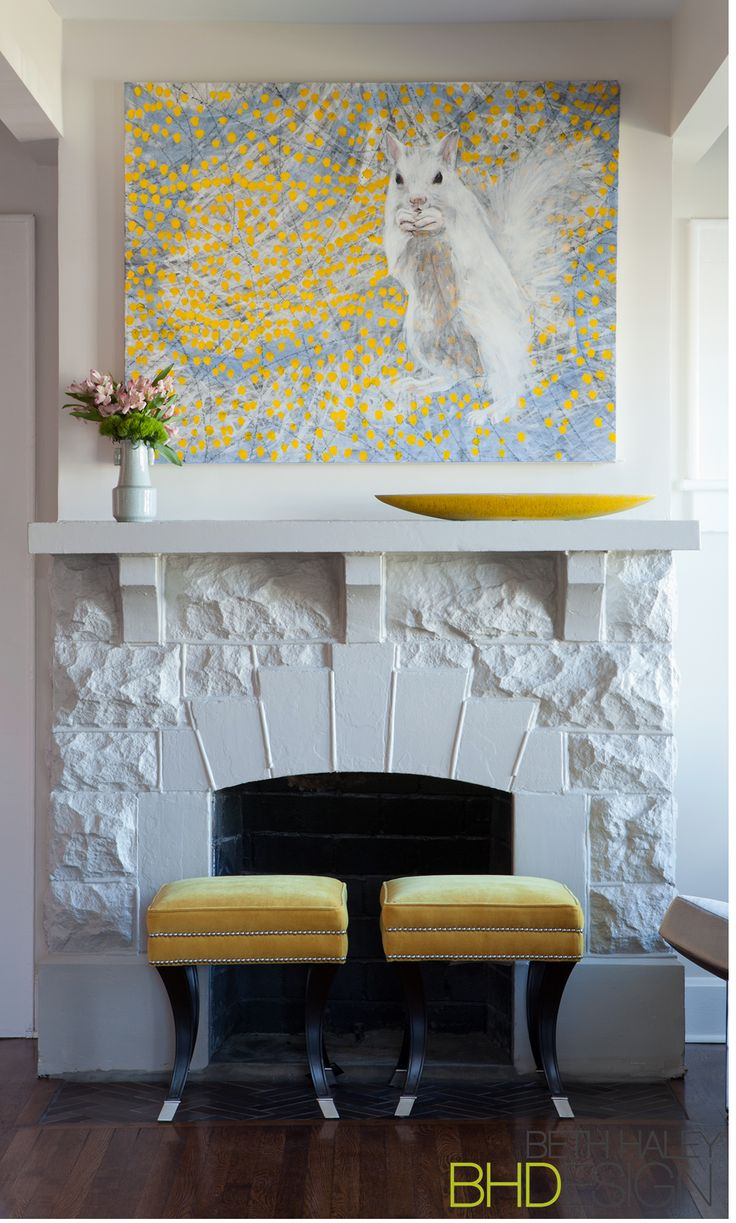 Fireplace with Yellow decor.