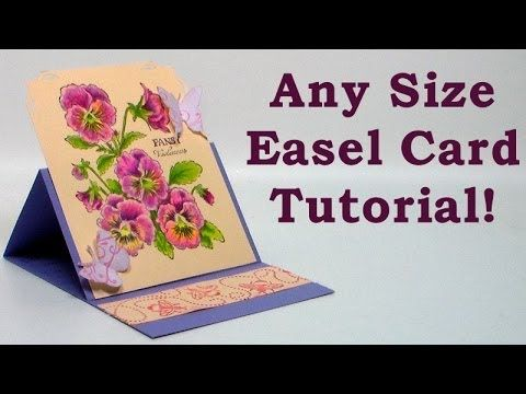 Here is the simple formula for making an easel card in any size. Cut a long piece of cardstock and fold it in half, then fold one end to the middle (scoring ...