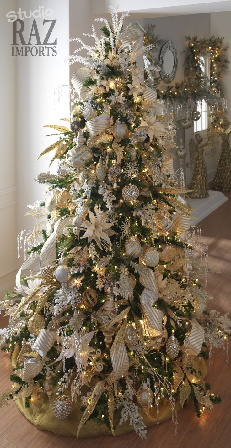 Christmas tree decorations silver and gold - White Gold Christmas Tree Inspiration For Fantasy Of Trees
