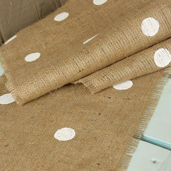 "Painted polka dot burlap runner pinned from ""7 Unexpected Ways to Use Burlap in Your Wedding"""