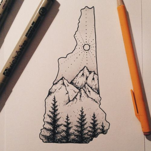 drawing design mountains nature 365 project 365 New Hampshire state micron pine trees 365 day challenge