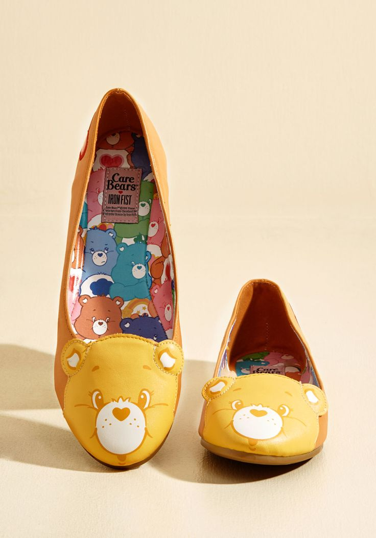 Face Your Cheers Vegan Flat in Curry. Proclaim your proclivity for positivity by sporting these Care Bear ballet flats from Iron Fist! #yellow #modcloth